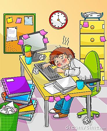 Overworked worker