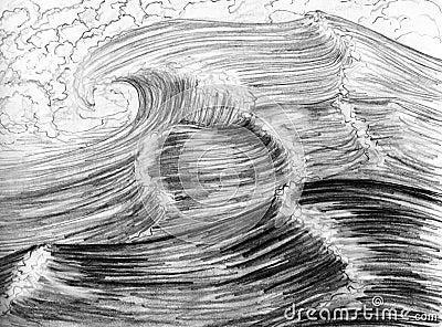 Overzeese golven, getrokken hand