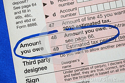 Owe money in the income tax return