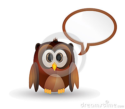 Owl bird with bubble speech