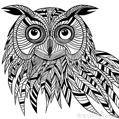Owl bird head as halloween symbol for mascot or emblem design, s