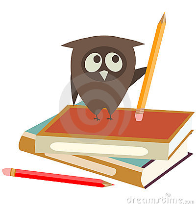 Owl, books and pencils