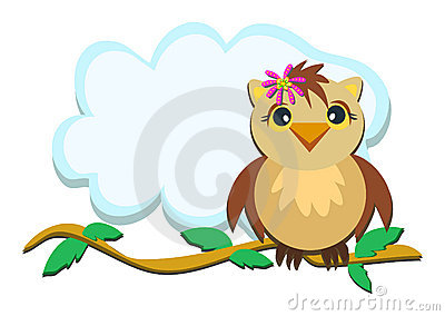 Owl on a Branch with Leaves