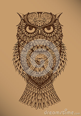 Owl on a brown background