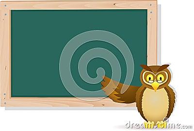Owl cartoon with board