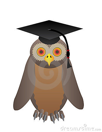 Owl with college hat
