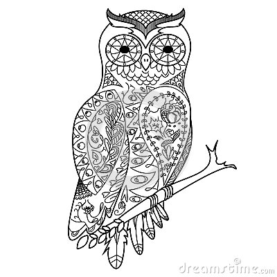 Volwassen Kleurplaat Kat Owl Coloring Book For Adults Vector Stock Vector Image