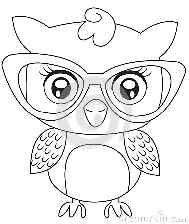 Owl With Eyeglasses Coloring Page Stock Illustration