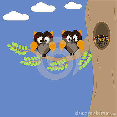 An Owl family on a branch of a tree Vector Illustration