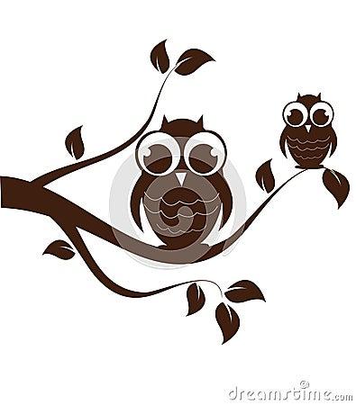 Owl family on swirly tree