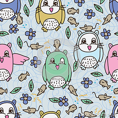Free Owl Fish Mouse Seamless Pattern Stock Photos - 59015773