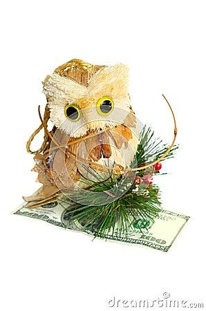 Owl holding money