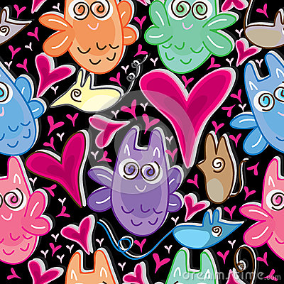 Owl Love Mouse Seamless Pattern_eps
