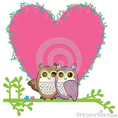 Owl love pair card Vector Illustration