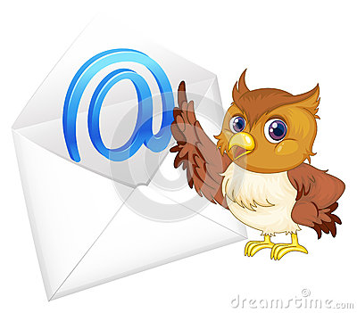 Owl with mail envelop