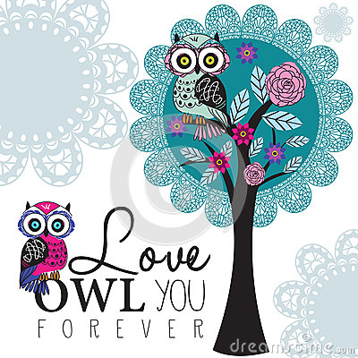 Free Owl On A Lace Tree Illustration Royalty Free Stock Photography - 36146257
