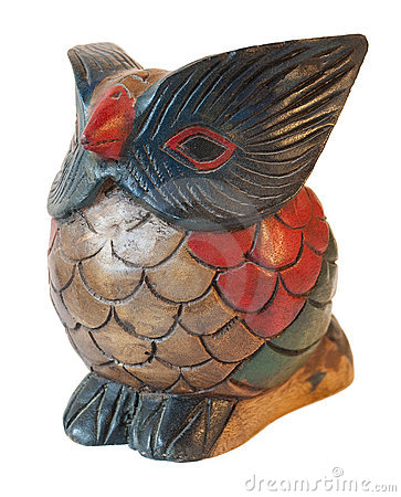 Owl ornament sculpture in painted wood