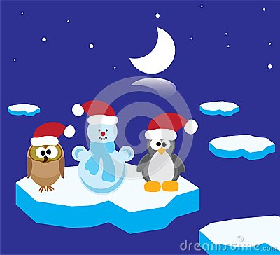 An owl, a penguin and a snowman on the ice floe