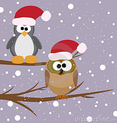 An owl and a penguin on a tree