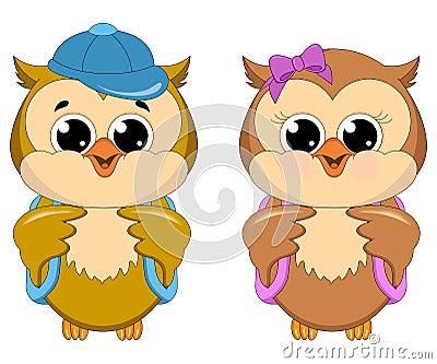 Owl School Girl and Boy