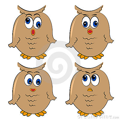 Owl  set. different emotion.isolated birds