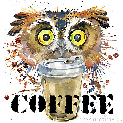Free Owl T-shirt Graphics. Coffee And Owl Illustration With Splash Watercolor Textured Background. Stock Photos - 62729733