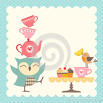 Free Owl Tea Time Royalty Free Stock Image - 43816086