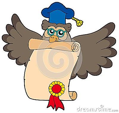 Owl teacher with diploma