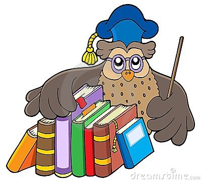 Owl teacher holding books