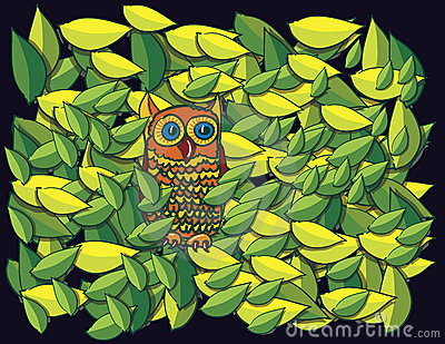 Owl in tree cartoon