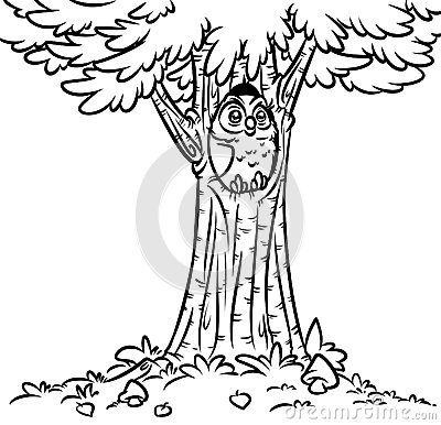 owl in a tree coloring page - owl tree fir coloring page stock illustration image