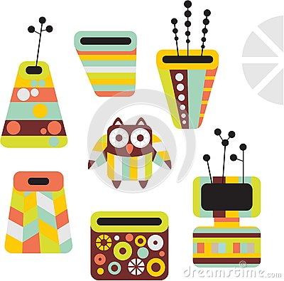 Owl and vases.