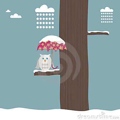 Free Owl With Snowy Umbrella Royalty Free Stock Photography - 11949137