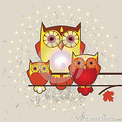 Owls family  illustration