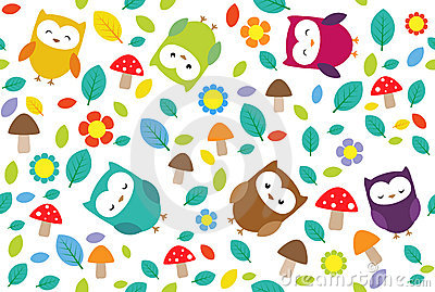Owls leafs Vector Illustration