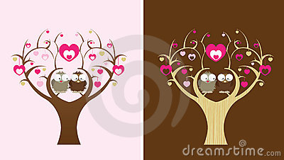 Owls in a love tree
