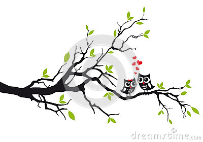 Owls In Love On Tree, Vector Stock Vector - Image: 45910761