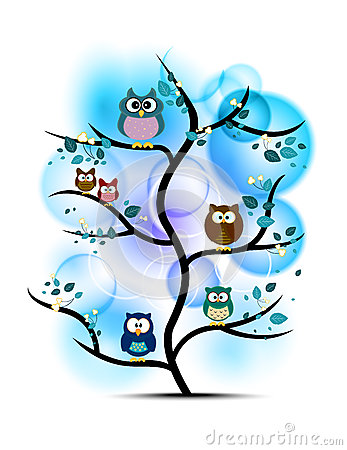 Free Owls Perched On A Tree Stock Photo - 54178340