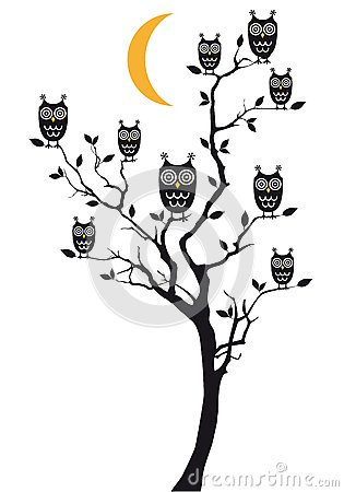 Owls sitting on tree, vector