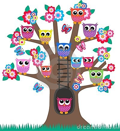 Owls in a tree Vector Illustration