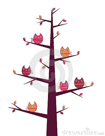 Owls tree Stock Photo