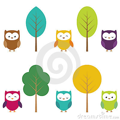 Owls color owls clip art by yulia87 on dreamstime - Cartoon Owls Royalty Free Stock Photos Image 20743338