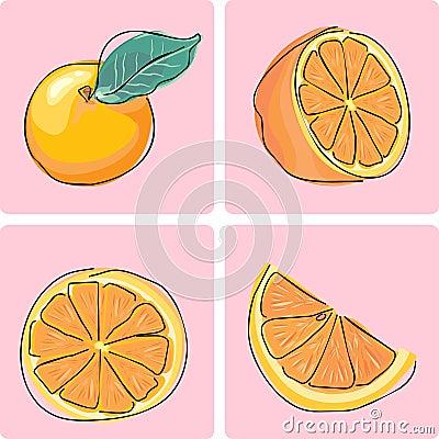 Owocowy ikony pomarańcze set