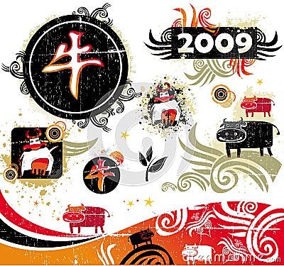 Ox design elements
