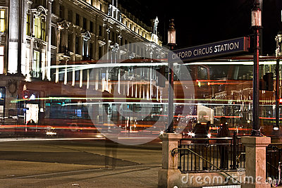 Oxford Circus in London at night. Editorial Photography
