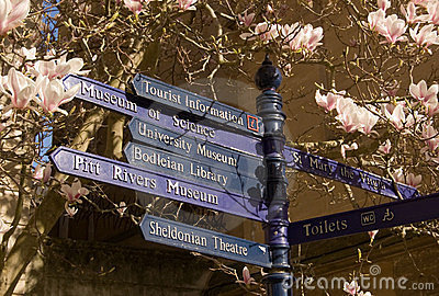 Oxford signpost in Spring