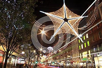 Oxford Street Christmas lights at night