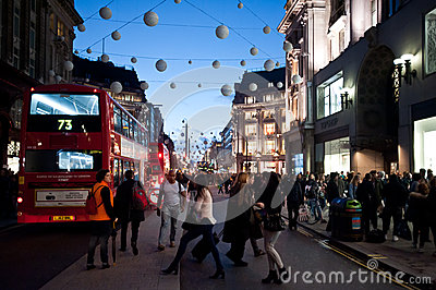 Oxford Street in London at sunset Editorial Image