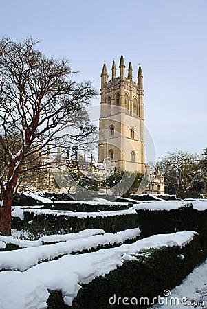 Oxford University in snow