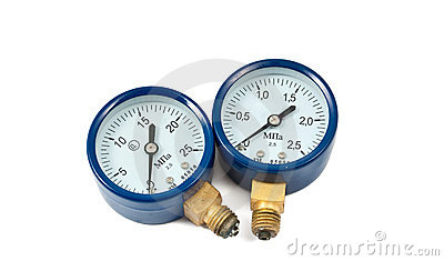 Oxygen pressure gauge isolated